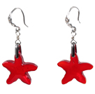 红色海星水晶耳环