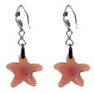 红褐色海星水晶耳环