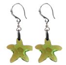 绿色海星水晶耳环