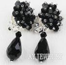 黑色水晶夹式耳环