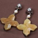 珍珠三彩玉十字花耳环