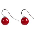 10mm红色海贝珠耳环