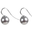 10mm浅灰色海贝珠耳环