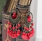 珊瑚血石耳环