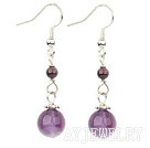石榴石紫晶耳环