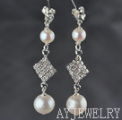 A级珍珠水钻耳环