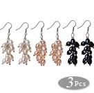 天然白粉黑珍珠耳环 葡萄簇款 3对装