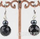 黑珍珠蓝砂石耳环