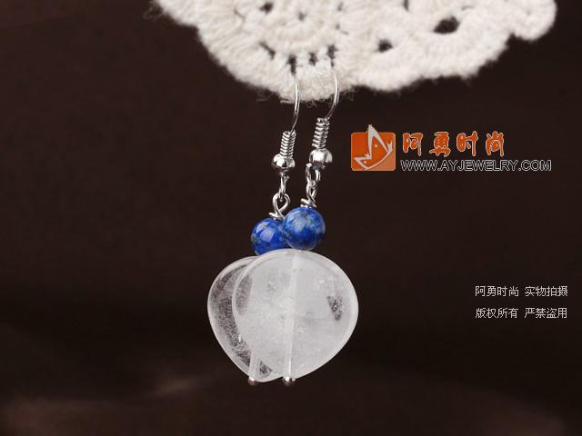 心形白水晶耳环 简约耳钩款 2对装
