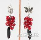红珊瑚黑玛瑙耳环