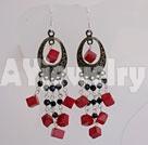 黑水晶红珊瑚耳环