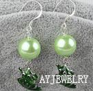 亚克力珠绿青蛙耳环