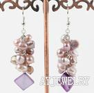 天然紫珍珠贝壳耳环