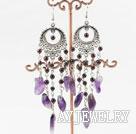 紫水晶石榴石耳环