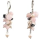 珍珠水晶芙蓉石耳环