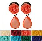 贝壳树脂花朵耳环 玫瑰花耳坠款 8对装