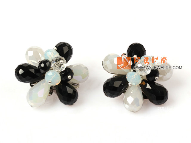 黑白撞色水晶花朵耳环 耳夹款