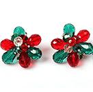 红绿撞色水晶花朵耳环 耳夹款