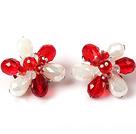 红色白色水晶花朵耳环 耳夹款