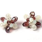 香槟色水晶花朵耳环 耳夹款