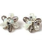 灰色水晶花朵耳环 耳夹款