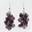 紫色水滴水晶耳环