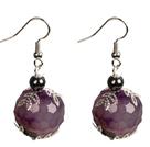 紫色玛瑙耳环