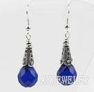 宝蓝色水滴水晶耳环
