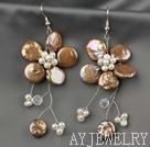 棕色纽扣珍珠花朵耳环