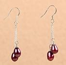 时尚酒红珍珠耳环