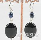 珍珠黑玛瑙耳环