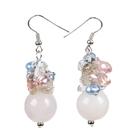 芙蓉石珍珠水晶耳环