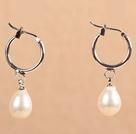 优雅白珍珠耳环