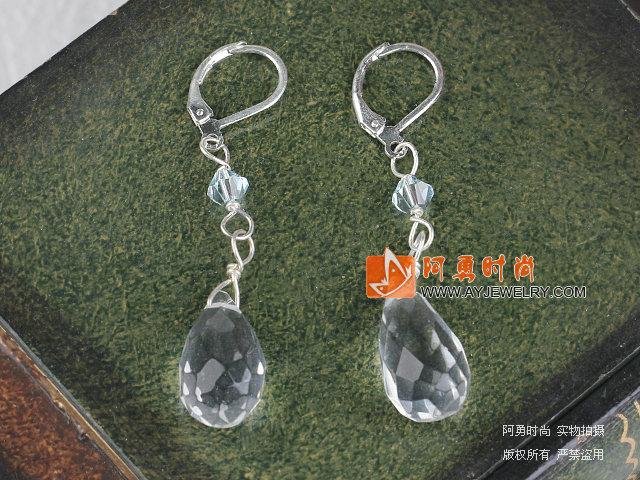 白水晶耳环-水晶饰品-水晶耳环-阿勇时尚饰品批发网