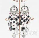 黑珍珠黑蝶贝耳环
