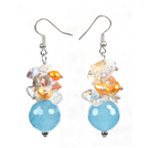 珍珠水晶海蓝晶耳环