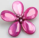 紫红色珍珠贝壳花胸针