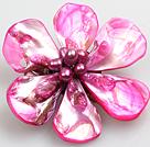 桃红色珍珠贝壳花胸针