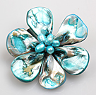 浅蓝色珍珠贝壳花胸针
