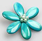 湖蓝色珍珠贝壳花胸针