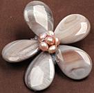 灰色珍珠贝壳花胸针