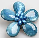 蓝色珍珠贝壳花胸针