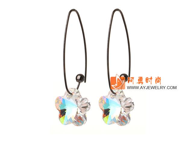 透明白色奥地利水晶耳环 梅花形长耳钩款