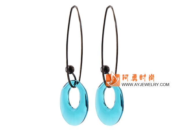 透明蓝色奥地利水晶耳环 环形长耳钩款
