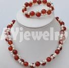 珍珠红玛瑙套链