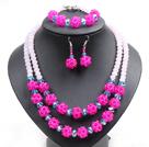 粉色玫红色水晶项链手链耳环套链