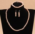 6-7mm四面光粉珍珠项链手链耳环套装