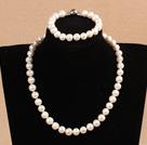 9-10mm少纹白珍珠项链手链耳环套装