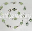 珍珠水晶岫玉套链