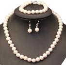 8-9mm白珍珠项链手链耳环套装